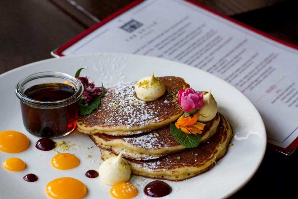 Buttermilk Pancakes with Lemon Curd, Vanilla Mascarpone Mousse and Pistachios