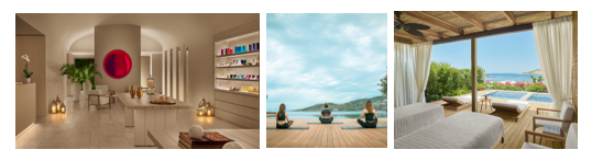 Bodrum Edition [L – R: Spa, Beach Yoga and Private Cabana Suite]