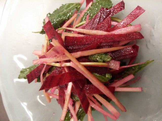 Chef Kaldrovich's Beet salad w peeled broccoli stems & leaves